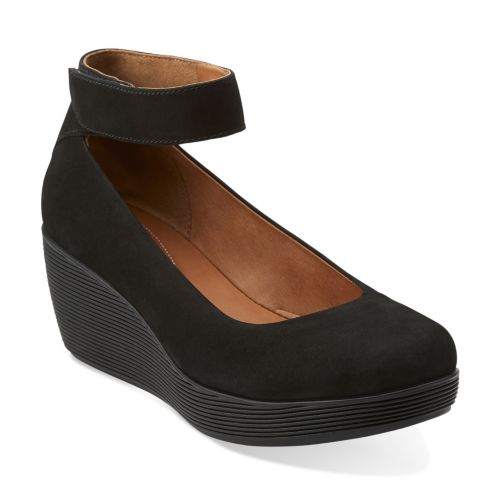 Claribel Fame Black Nubuck womens-wedges