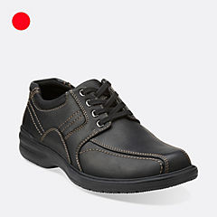 Clarks Sherwin Limit Oxfords Tumbled Leather Mens Shoes (Black)