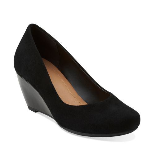 Bassett Mine Black Suede womens-wedges