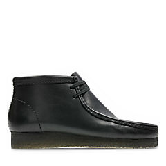 Wallabee Boot Black Leather mens-medium-width
