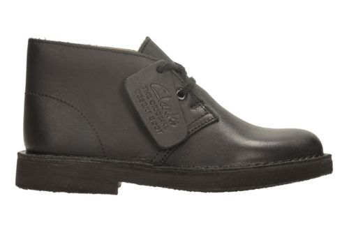 Boys Desert Boot Youth Black Smooth kids-school-shoes