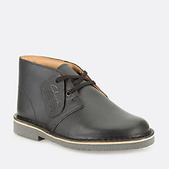Boys Desert Boot Youth Black Smooth Leather kids-school-shoes