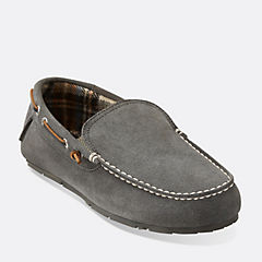 Venetian Plaid Lined Moccasin Grey mens-slippers