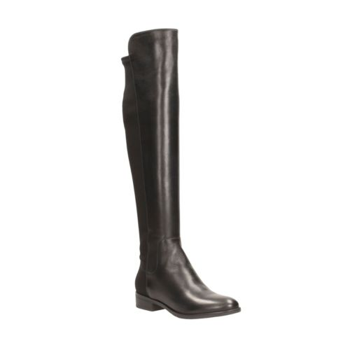 Caddy Belle Black Leather womens-knee-boots