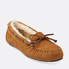 Cow Suede Moccasin Tan Suede womens-slippers