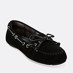 Cow Suede Moccasin Black womens-slippers