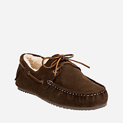 Fur Lined Moccasin Brown mens-accessories