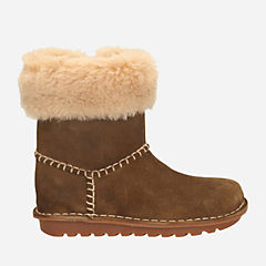 Clarks Greeta Ace Toddler Girls Boot (Walnut Suede)