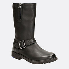 Ines Spot Toddler Black Leather girls-boots