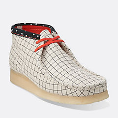 Wallabee Boot Black White Grid