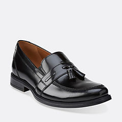 Kinnon Step Black Leather mens-dress-slip-ons