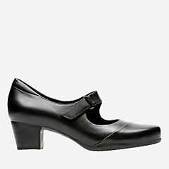 Rosalyn Wren Black Leather womens-wide-fit-heels