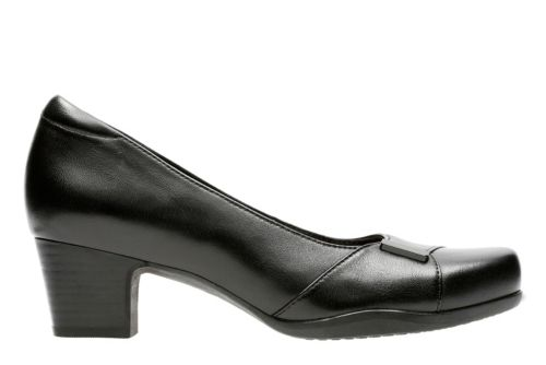 Rosalyn Belle Black Leather womens-wide-fit-heels