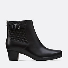 Rosalyn Lara Black Leather womens-wide-fit-ankle-boots
