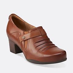 Rosalyn Nicole Dark Tan Leather womens-wide-fit-heels