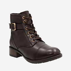 Swansea Ledge Dark Brown Leather womens-ankle-boots