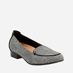 Keesha Luca Black Tweed Wool womens-wide-fit-flats