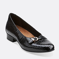 Keesha Raine Black Croc Patent Leather womens-narrow-width