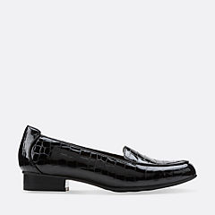 Keesha Luca Black Croc Patent Leather womens-wide-width