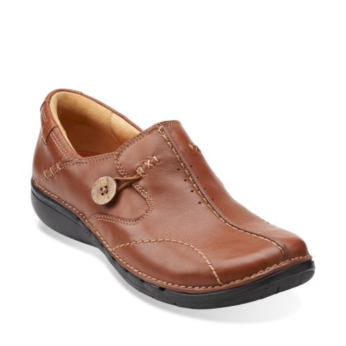 Un.Loop Dark Tan Leather womens-narrow-width