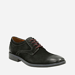 Garren Plain Black Leather mens-dress-casual-shoes