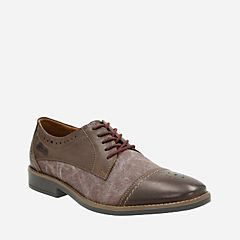 Garren Cap Brown Leather/Canvas Combo mens-dress-casual-shoes