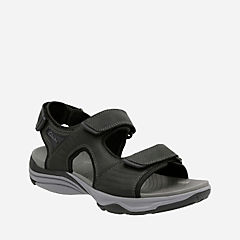 Wave Leap Black Leather mens-sandals