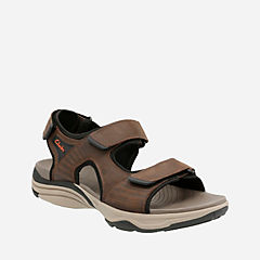 Wave Leap Dark Brown Leather mens-sandals