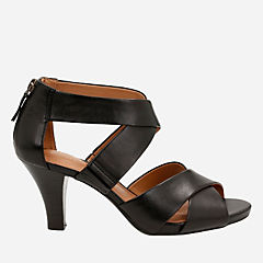 Florine Sashae Black Leather womens-sandals-heels
