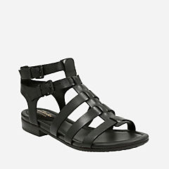 Viveca Myth Black Leather womens-sandals
