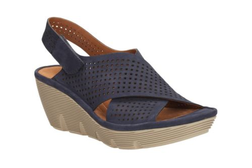 Clarene Award Navy Nubuck womens-sandals-wedge