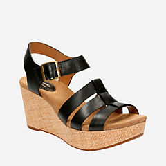 Caslynn Harp Black Leather womens-sandals-wedge