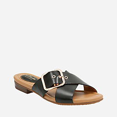 Viveca Gwen Black Leather womens-sandals
