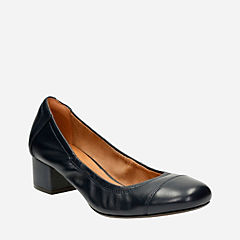 Cala Dor Navy Leather womens-heels