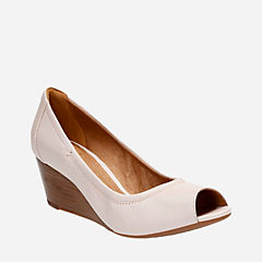 Burmese Art Blush Pink Leather womens-wedges