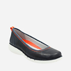 Un Elita Navy Leather womens-flats