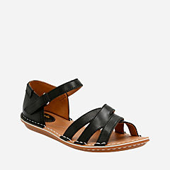 Tustin Sahara Black Leather womens-sandals