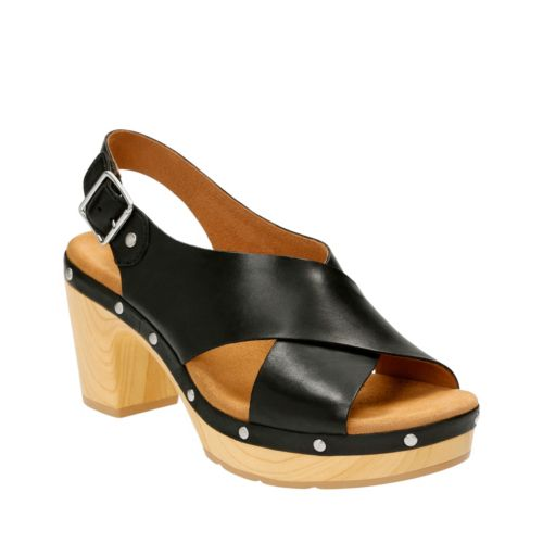 Ledella Club Black Leather womens-sandals-heels