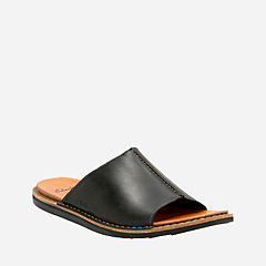 Lynton Slide Black Leather mens-sandals
