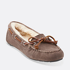 Cow Suede Moccasin Grey womens-slippers