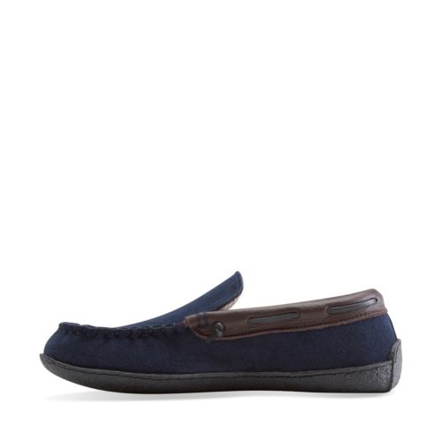 Raymend Burch Navy mens-slippers
