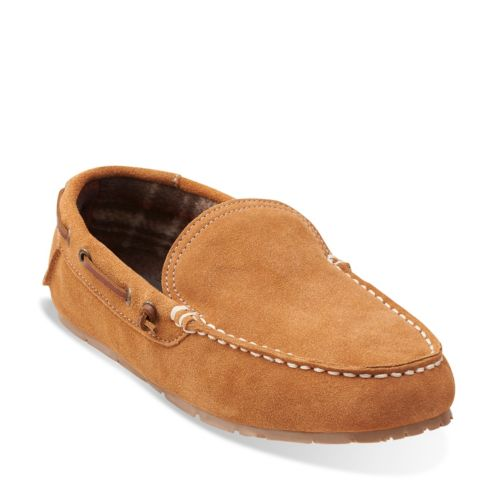 Venetian Plaid Lined Moccasin Cinnamon mens-slippers