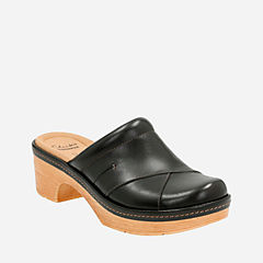 Preslet Sheen Black Leather womens-clogs