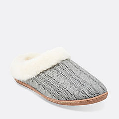 Knit Clog Slipper Grey womens-slippers