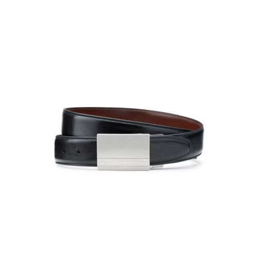 Men's Reversible Plaque Belt  Black/Tan mens-accessories