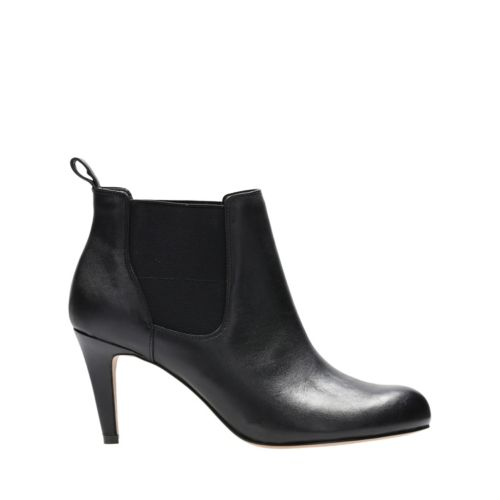 Carlita Quinn Black Leather womens-ankle-boots