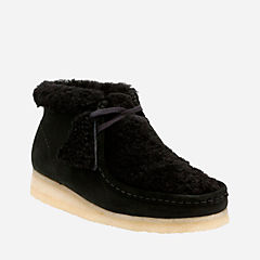 Wallabee Boot. Black Suede Warm Lined originals-womens-boots