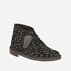 Women's Desert Boot Black/White Graphic Print originals-womens-boots