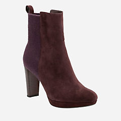 Kendra Porter Aubergine Suede womens-ankle-boots
