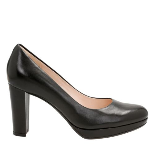 Kendra Sienna Black Leather womens-heels